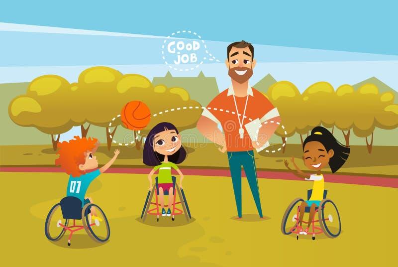 Les enfants handicapés joyeux dans des fauteuils roulants jouant avec la boule et le mâle donnent des leçons particulières à proc illustration libre de droits