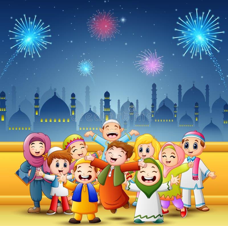 Les enfants heureux célèbrent pour l'eid Mubarak avec le fond de mosquée et de feux d'artifice illustration de vecteur