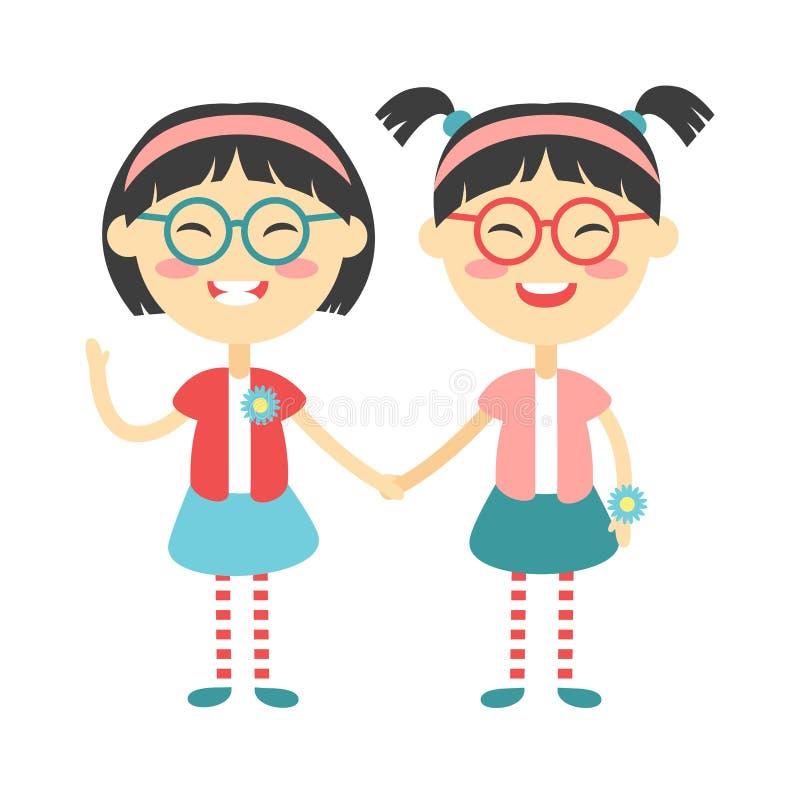 Les enfants heureux de jumeaux tenant des mains garçon et fille dirigent l'illustration illustration stock