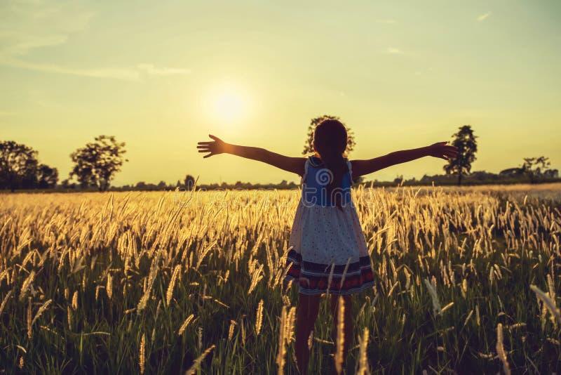 les enfants heureux ouvrent la liberté de bras avec le coucher du soleil sur le pré images libres de droits