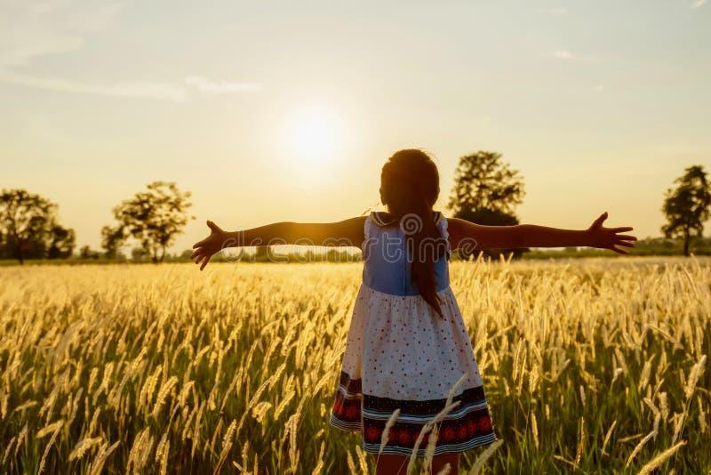 les enfants heureux ouvrent la libert? de bras avec le coucher du soleil sur le pr? photos libres de droits
