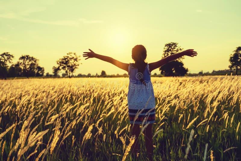 les enfants heureux ouvrent la libert? de bras avec le coucher du soleil sur le pr? image stock