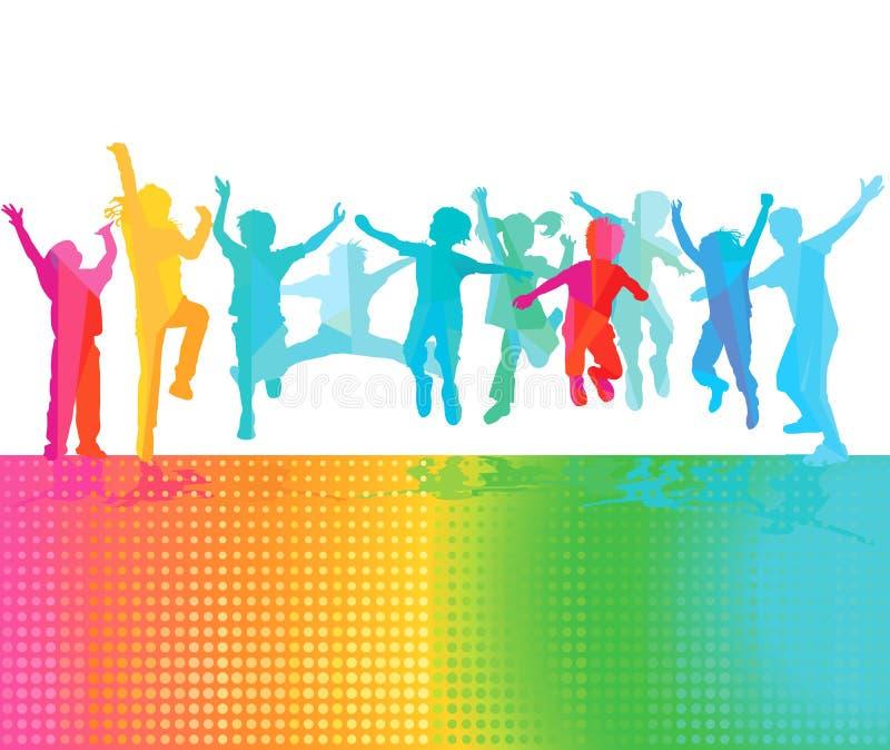 Les enfants heureux sautent illustration libre de droits