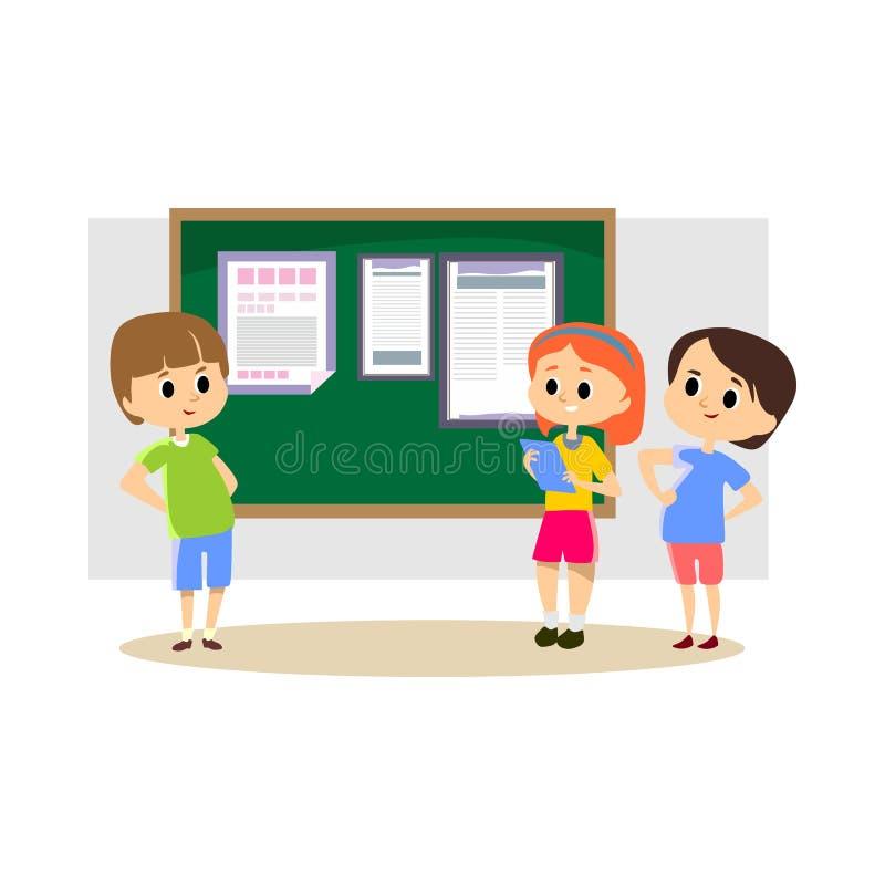 Les enfants heureux se tiennent prêt le journal d'école accrochant sur le tableau noir, parents avec des papiers lisant des actua illustration de vecteur