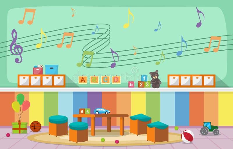 Les enfants intérieurs d'enfants de salle de classe de jardin d'enfants instruisent l'illustration de vecteur de meubles de jouet illustration stock
