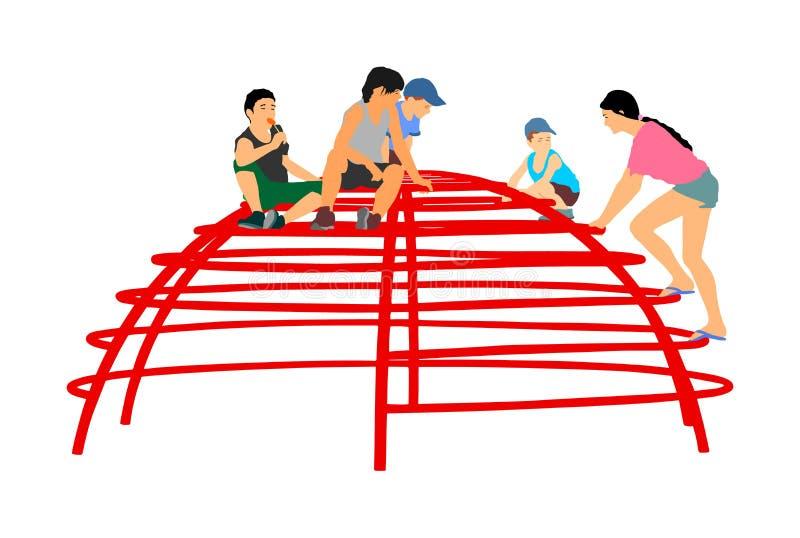 Les enfants jouant au grimpeur de terrain de jeu jouent dans l'illustration de parc de divertissement Activité en plein air illustration libre de droits
