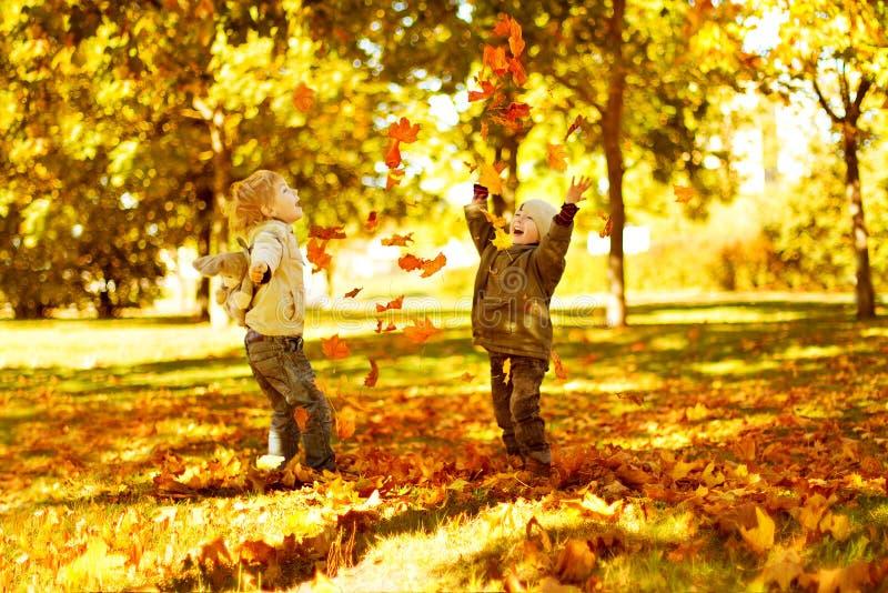 Les enfants jouant avec l'automne tombé part dans le stationnement images libres de droits