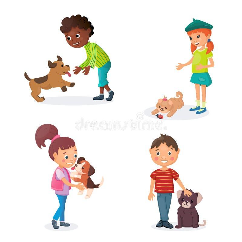 Les enfants jouent avec des chiots Les garçons et les filles heureux ont des jeux avec de petits chiens mignons Concept d'amitié illustration libre de droits