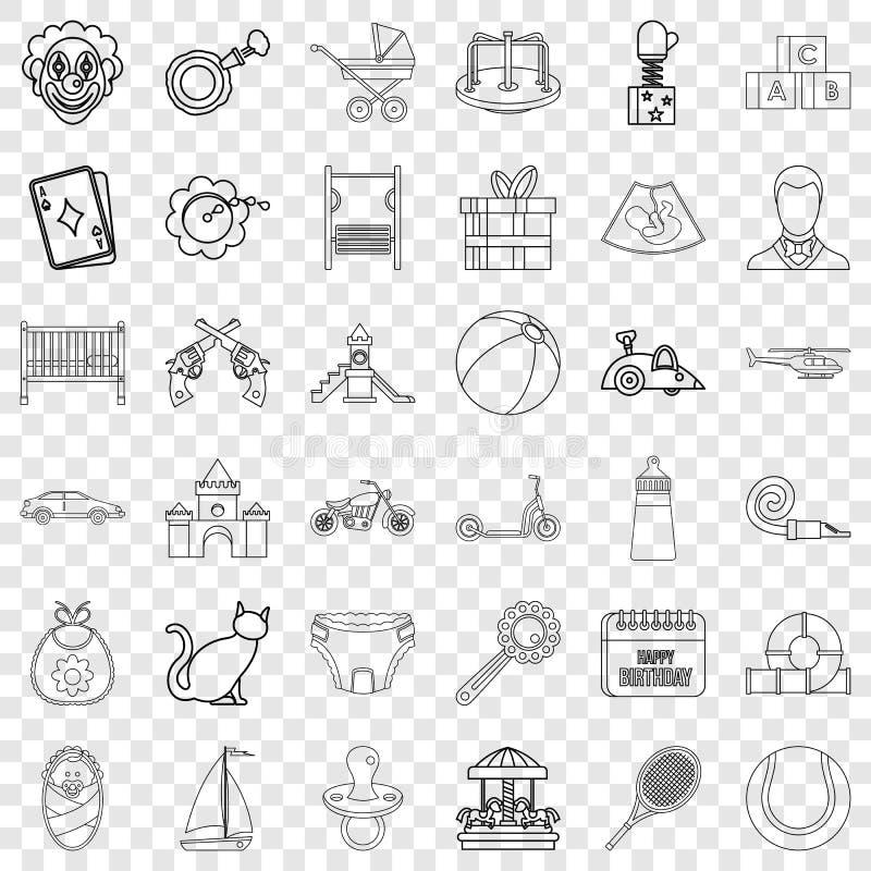Les enfants jouent l'ensemble d'icônes, style d'ensemble illustration stock