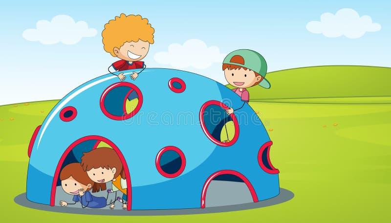 Les enfants jouent le dôme s'élevant dans le terrain de jeu illustration de vecteur