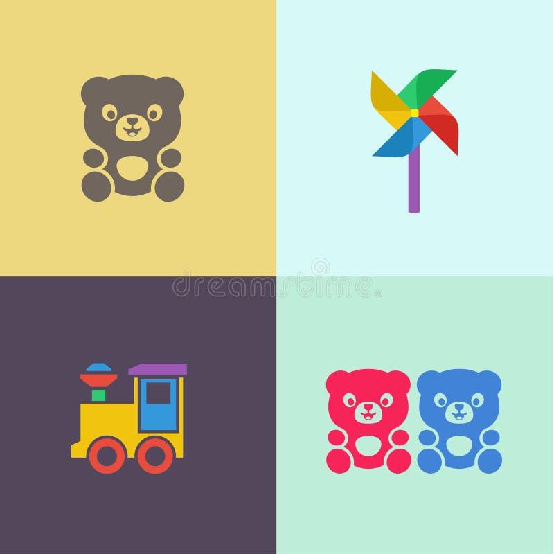 Les enfants jouent le logo plat d'illustrations d'icônes de plaque tournante d'ours et de locomotive de nounours illustration stock