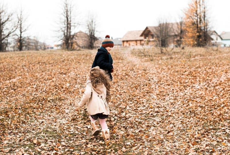 Les enfants jouent le rattrapage dans la forêt d'automne photographie stock