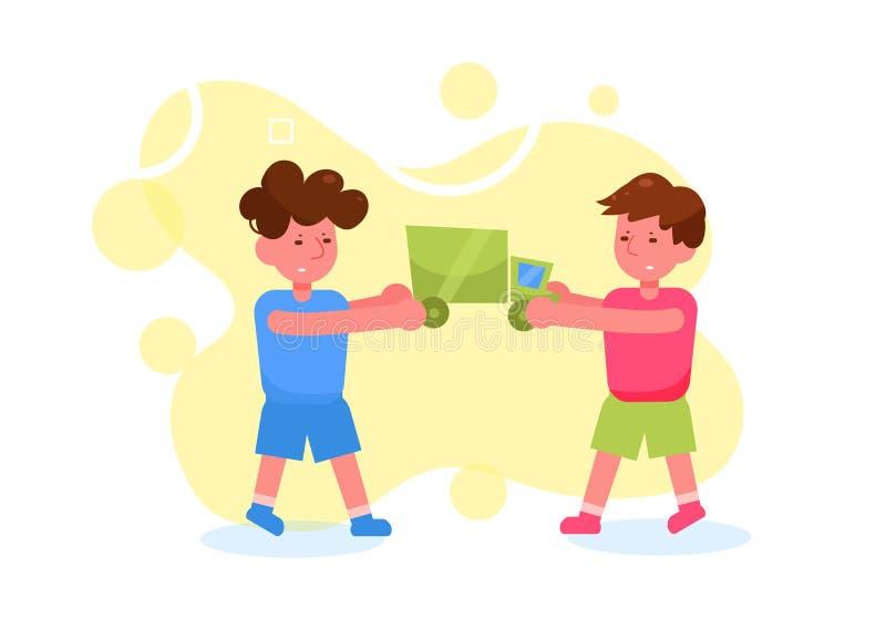 Les enfants luttent pour un vecteur de jouet cartoon Art d'isolement sur le fond blanc plat illustration libre de droits
