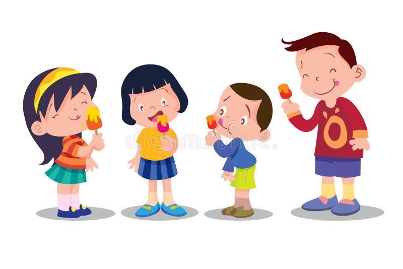 Les enfants mangent la crème glacée  illustration stock
