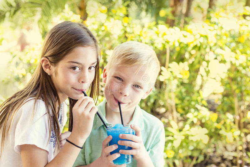 Les enfants mignons partageant une glace assaisonnée délicieuse boivent ensemble image libre de droits