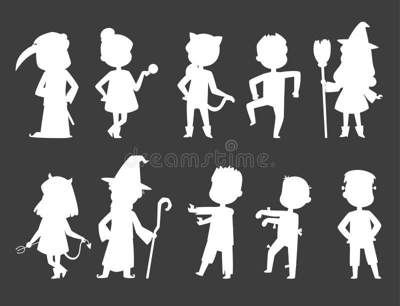 Les enfants mignons portant la partie de Halloween costume le vecteur illustration de vecteur