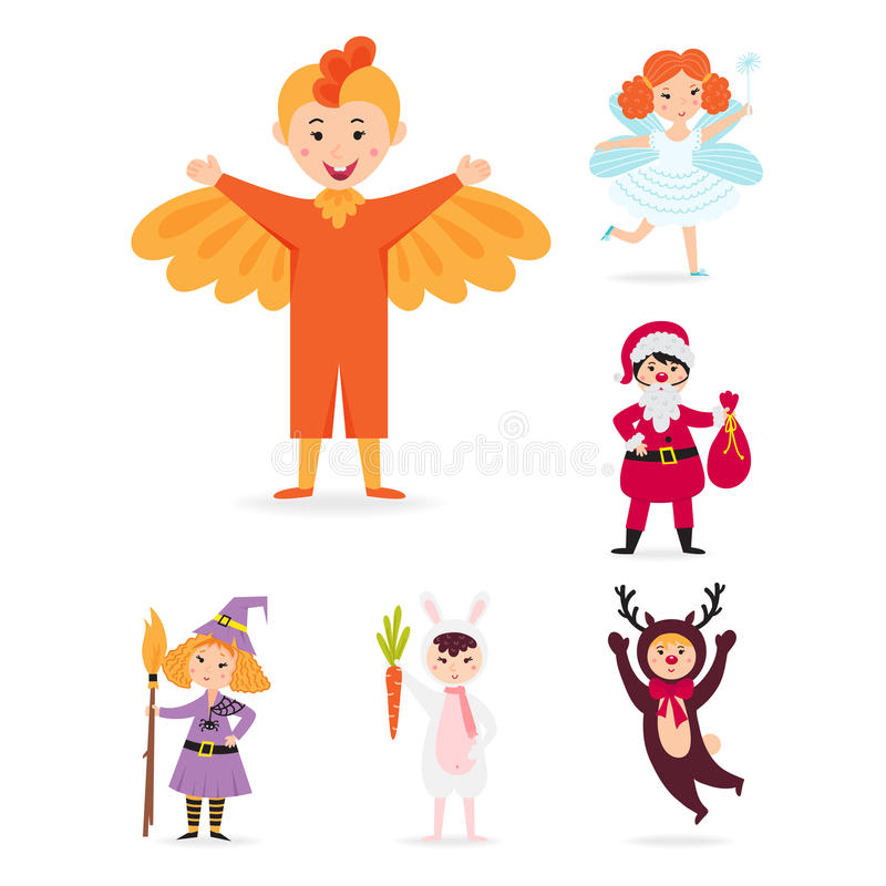 Les enfants mignons portant Noël costume l'illustration gaie d'isolement de vacances d'enfants de lutins de caractères de vecteur illustration libre de droits