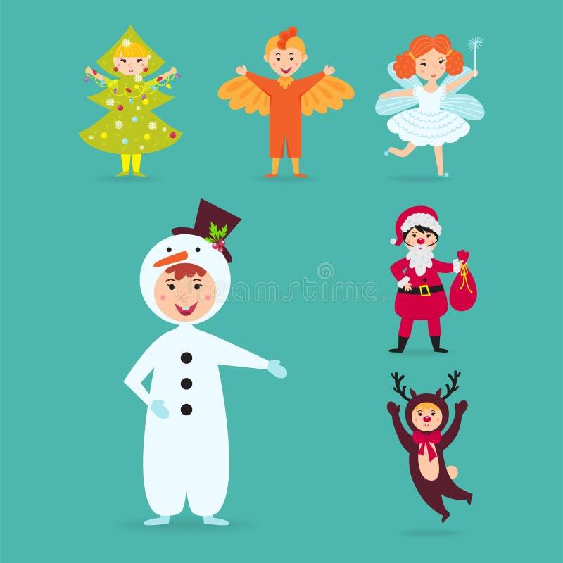 Les enfants mignons portant Noël costume l'illustration gaie d'isolement de vacances d'enfants de lutins de caractères de vecteur illustration de vecteur