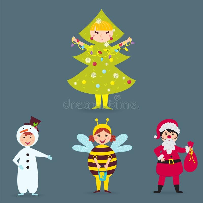 Les enfants mignons portant Noël costume l'illustration gaie de vacances d'enfants de lutins de caractères de vecteur illustration de vecteur