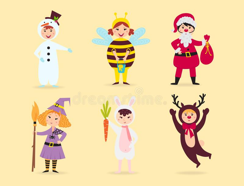 Les enfants mignons portant Noël costume l'illustration gaie de vacances d'enfants de lutins de caractères de vecteur illustration libre de droits