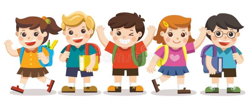 Les enfants mignons vont à l'école illustration libre de droits