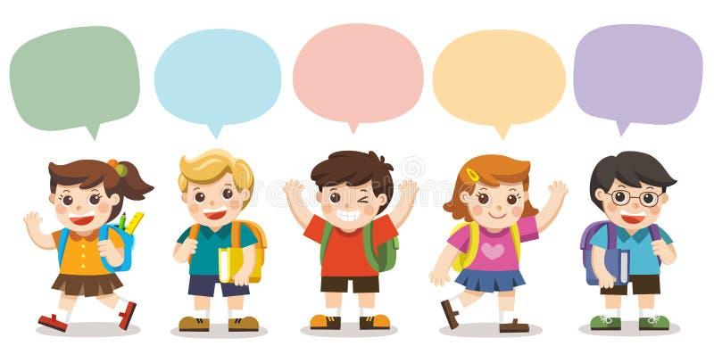 Les enfants mignons vont à l'école illustration de vecteur
