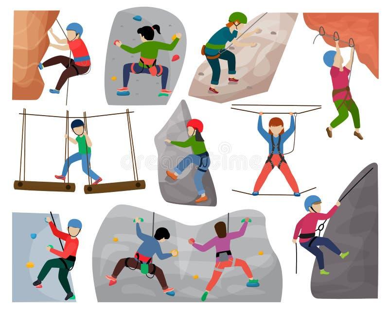 Les enfants montant le caractère d'enfants de grimpeur de vecteur monte le mur de montagne de roche ou l'illustration montagneuse illustration de vecteur