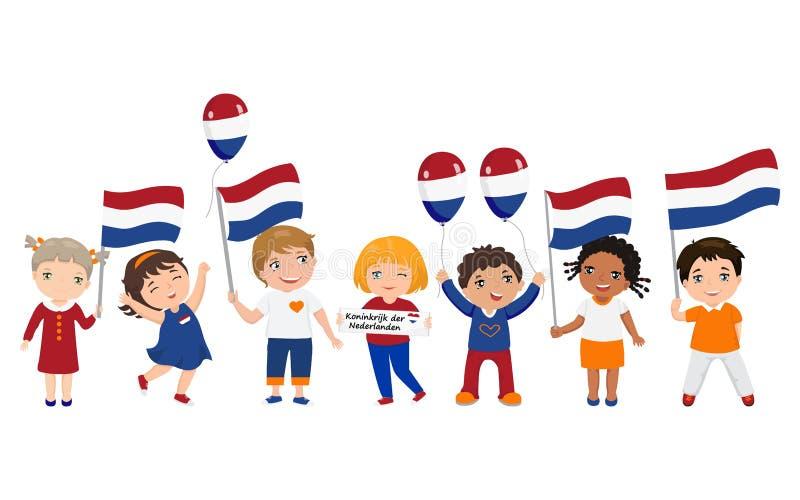 Les enfants n?erlandais tiennent des drapeaux Illustration de vecteur descripteur moderne de conception illustration stock