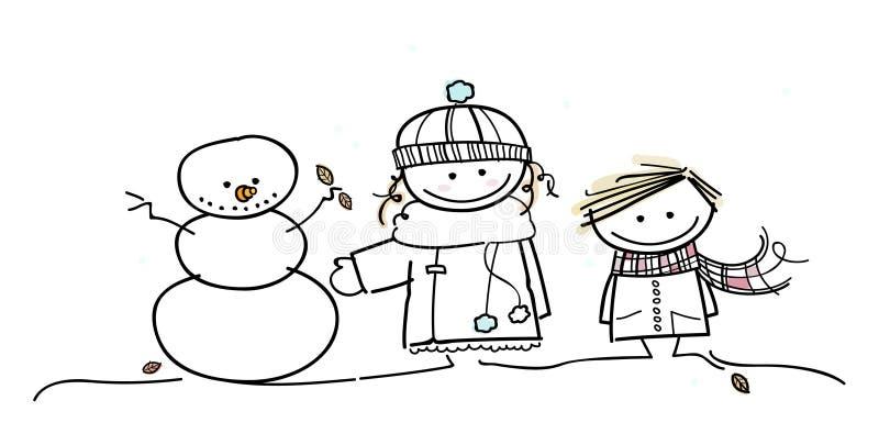 Les enfants ont l'amusement dans l'hiver photo stock