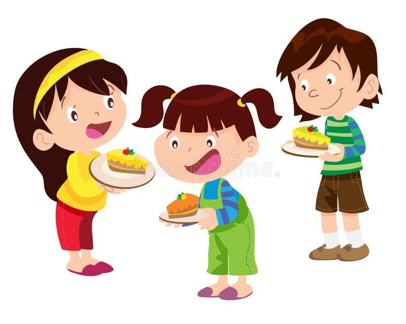 Les enfants ont le gâteau illustration libre de droits