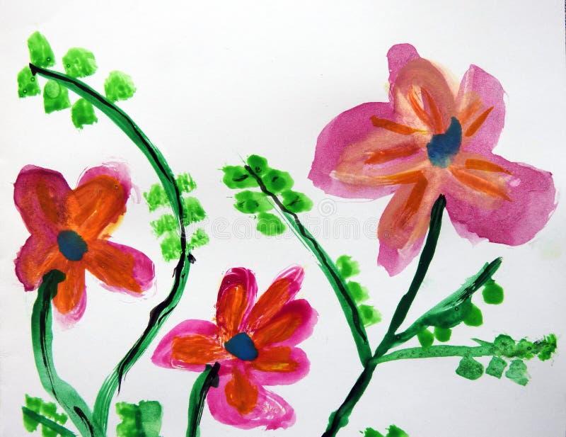Les enfants ont peint de belles fleurs, Lithuanie illustration libre de droits