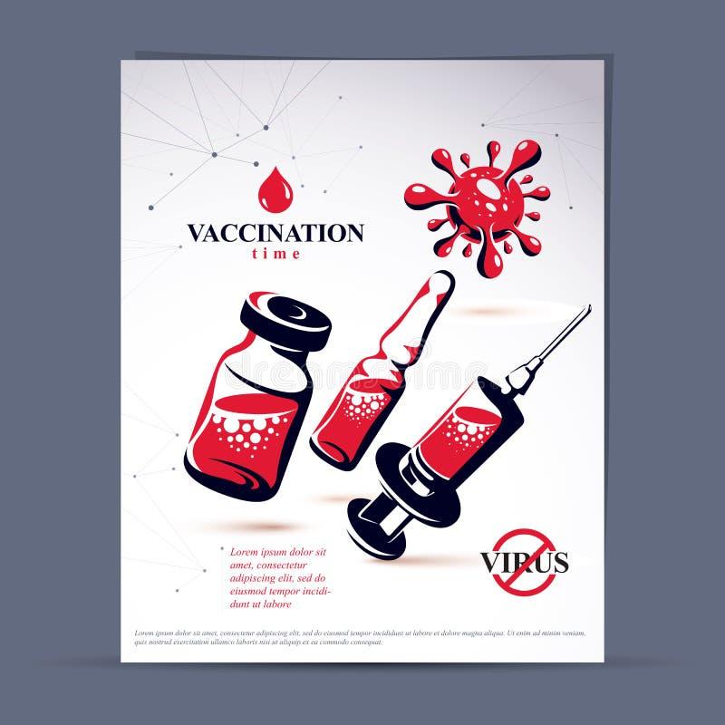 Les enfants ont programmé l'insecte de publicité de vaccination Illustr de vecteur illustration libre de droits