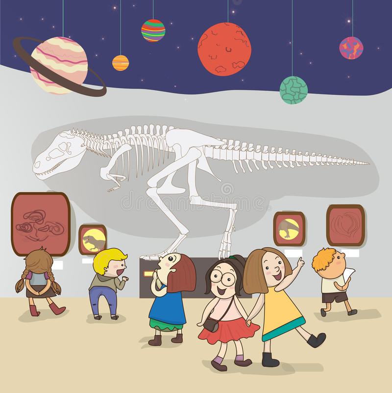 Les enfants ont une étude éducative au Musée National, illustration stock
