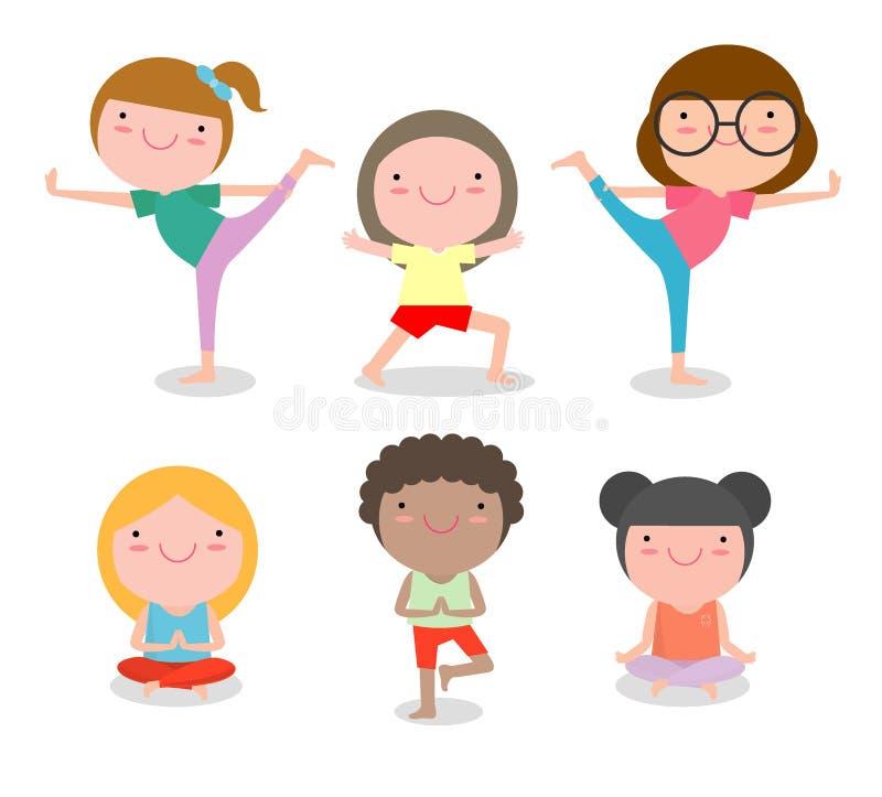 Les enfants pratiquant le yoga, enfants heureux de bande dessinée pratiquant le yoga, yoga d'enfant s'exerce Style de vie sain illustration stock