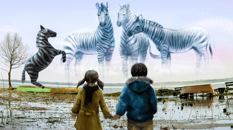 Les enfants regardent la famille de zèbre photographie stock libre de droits
