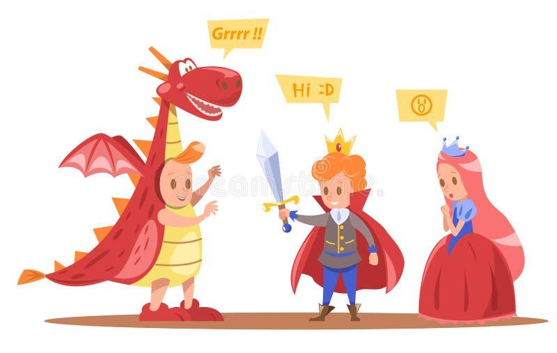 Les enfants roi et le vecteur de caractères de reine conçoivent avec le dragon illustration de vecteur