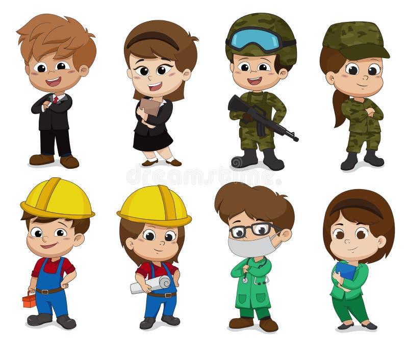 Les enfants s'habillent comme profession telle que des affaires, soldat, ingénieur, docteur illustration stock