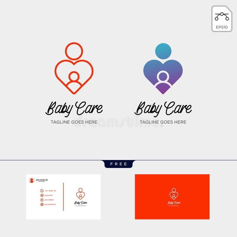 les enfants s'inquiètent, calibre de logo de soin de bébé avec la carte de visite professionnelle de visite illustration stock
