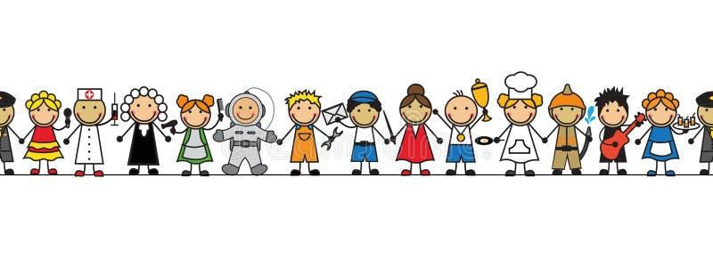 Les enfants sans couture dans des professions de costumes se tiennent dans une rangée illustration libre de droits