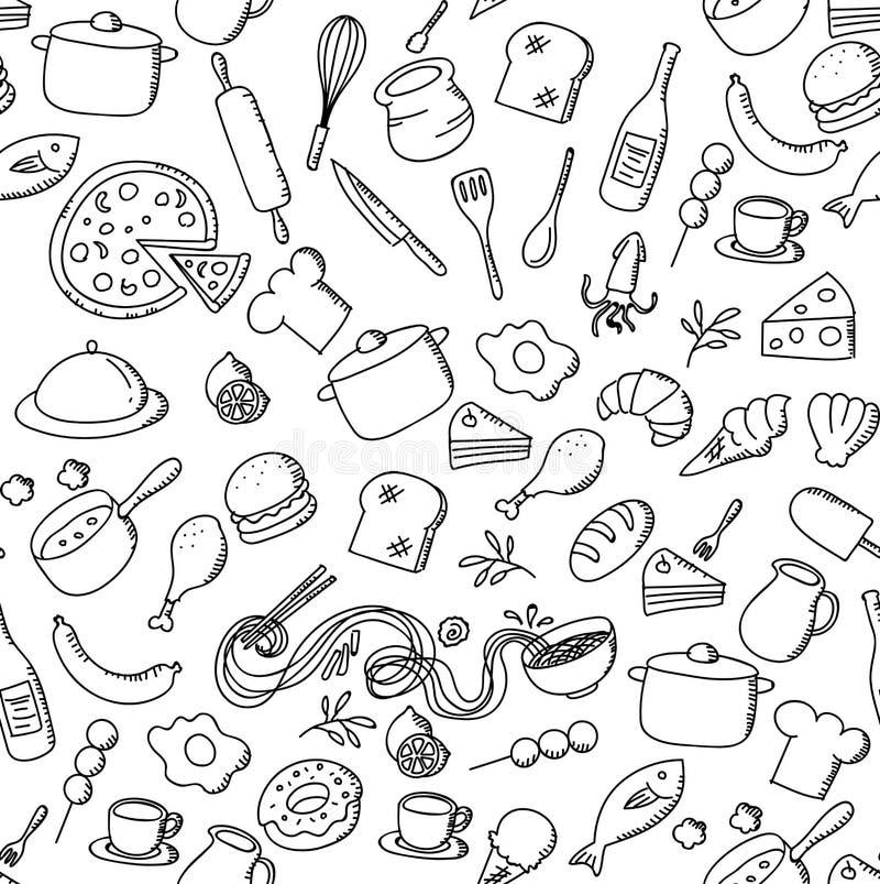 Les enfants sans couture de nourriture et d'ingrédient de fond de modèle remettent l'illustration d'ensemble de dessin d'isolemen illustration libre de droits