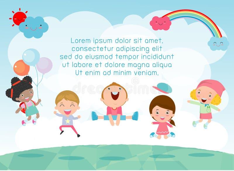 Les enfants sautant sur le terrain de jeu, enfants sautent avec joie, enfant heureux de bande dessinée jouant sur le fond illustration stock