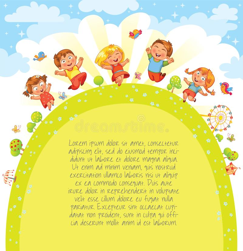 Les enfants sautent dans le pré Descripteur pour la brochure de publicité illustration stock