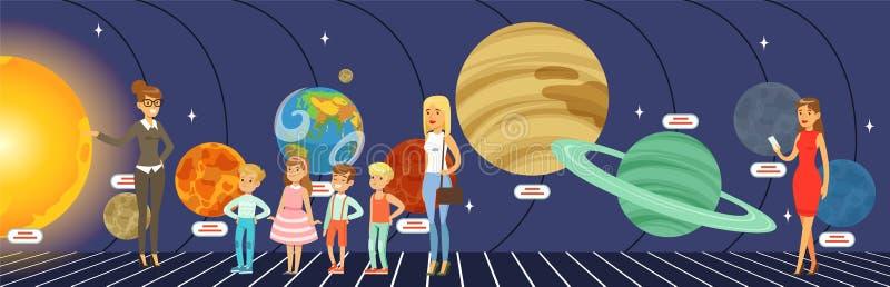 Les enfants se renseignant sur les étoiles, les planètes et le système solaire au planétarium dirigent l'illustration dans le sty illustration de vecteur