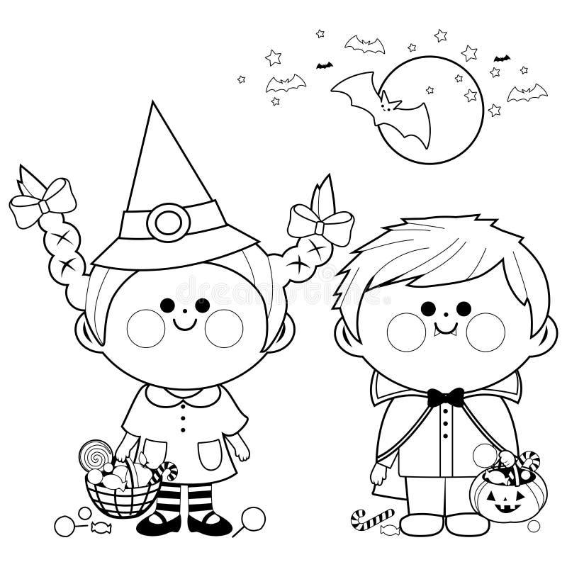 Les enfants se sont habillés dans des seaux de prise de costumes de Halloween avec la sucrerie Page noire et blanche de livre de  illustration de vecteur