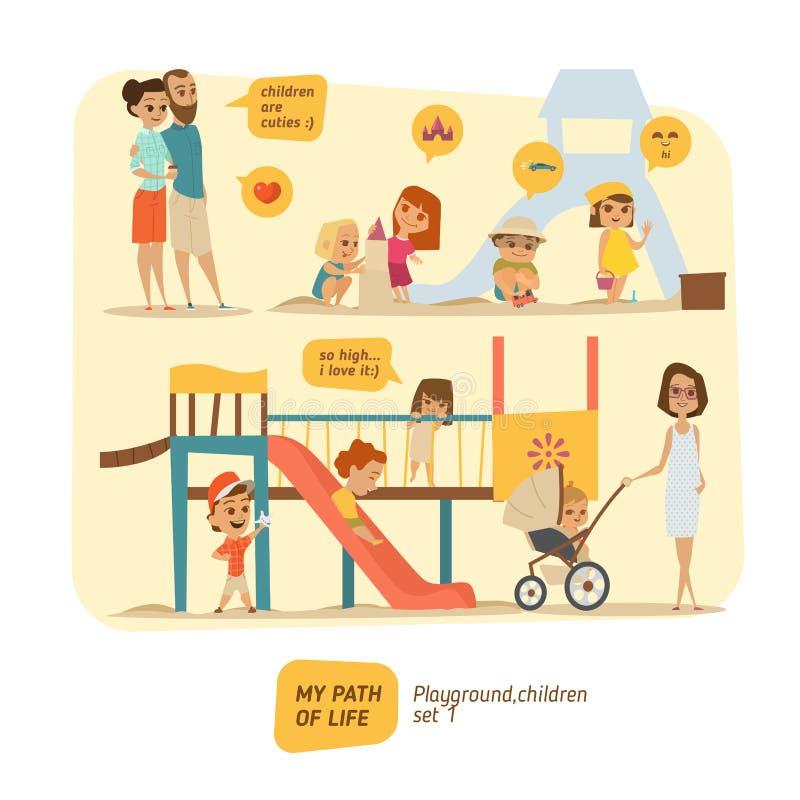 Les enfants sont heureux sur le terrain de jeu illustration stock