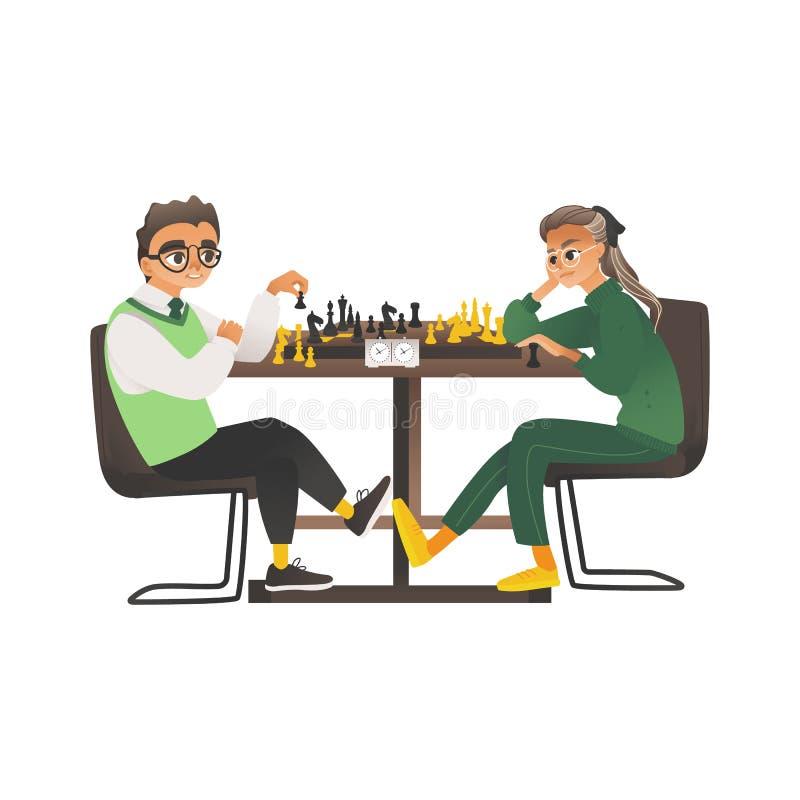 Les enfants, un garçon et une fille avec des verres s'asseyent vis-à-vis de l'un l'autre et jouent aux échecs illustration stock