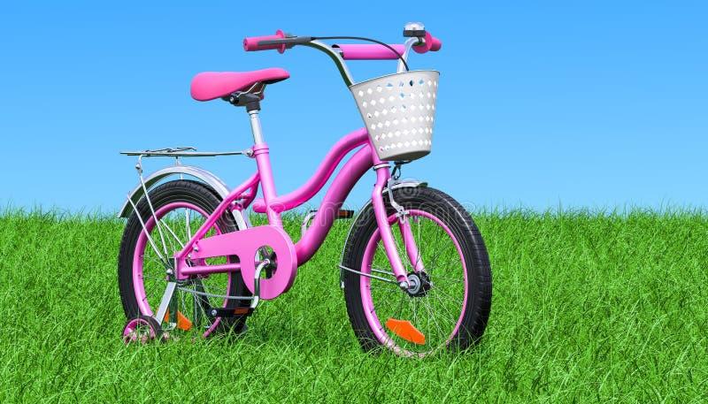 Les enfants vont à vélo pour les filles avec des roues de formation et le panier sur l'herbe verte contre le ciel bleu, le rendu  illustration libre de droits