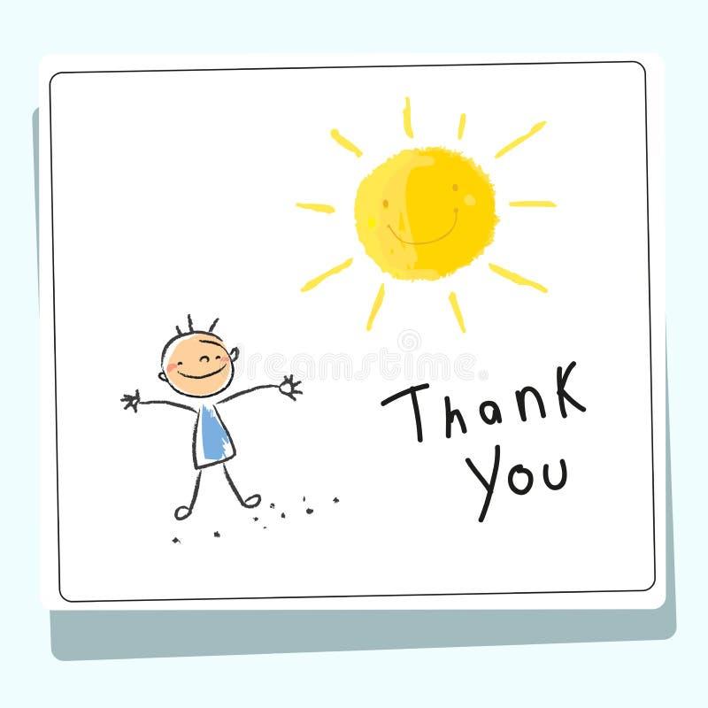 Les enfants vous remercient de carder illustration libre de droits