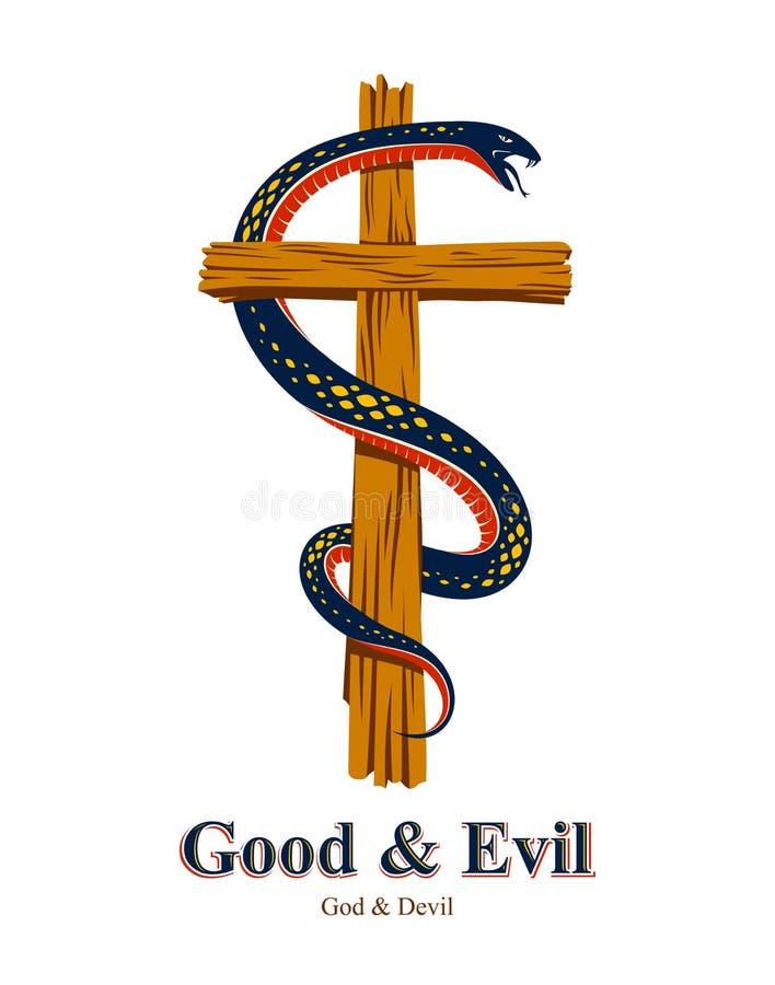 Les enrouler de serpent autour de la croix chr?tienne, de la lutte entre le le bien et le mal, du saint et du p?cheur, aiment et  illustration de vecteur