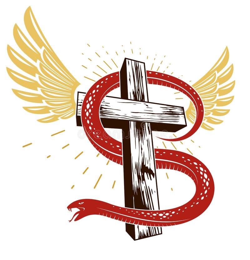 Les enrouler de serpent autour de la croix chr?tienne, de la lutte entre le le bien et le mal, du saint et du p?cheur, aiment et  illustration libre de droits
